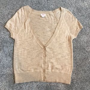 Mossimo V-Neck Cardigan Tan-Camel
